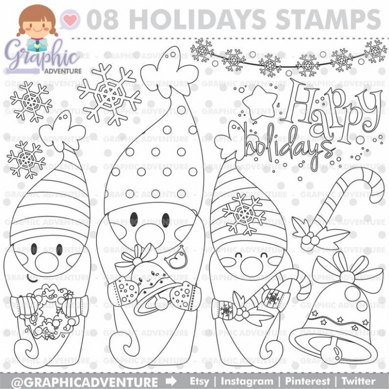 Christmas Stamps Gnome Stamps COMMERCIAL USE Digi Stamp | Etsy - Christmas Gnome Coloring Page