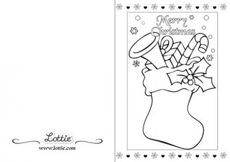 Christmas Stocking Coloring Card – Lottie Dolls – Christmas Coloring In Cards
