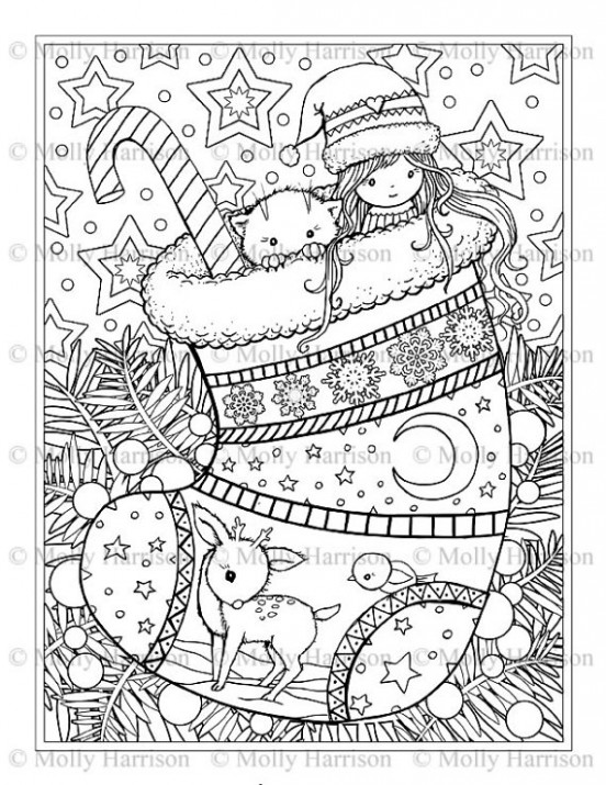 Christmas Stocking Coloring Page - Cat, Deer, Cute Little Girl ..