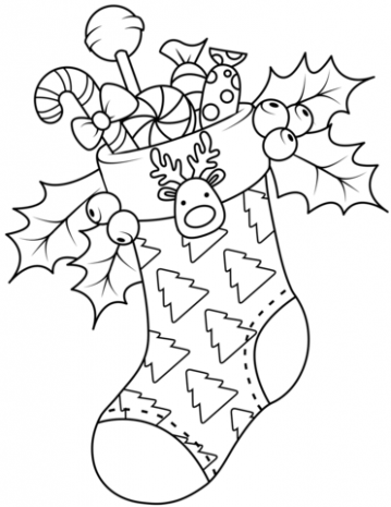 Christmas Stocking coloring page | Free Printable Coloring Pages