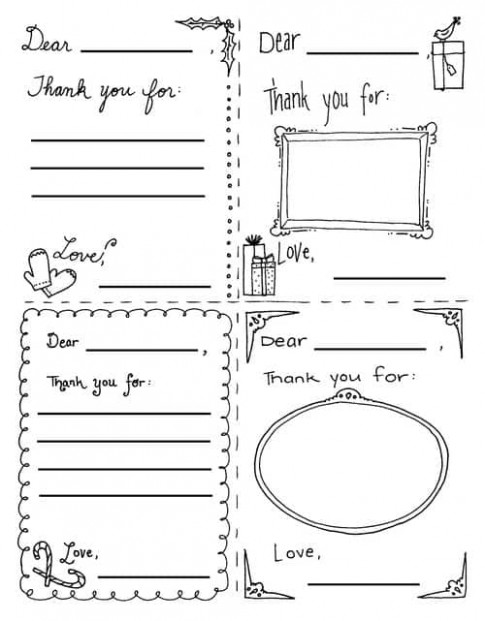 "Christmas ""Thank You"" Cards Coloring Sheets"
