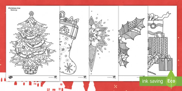 Christmas Themed Mindfulness Colouring Pages English/Hindi – festive – Christmas Coloring Pages Twinkl