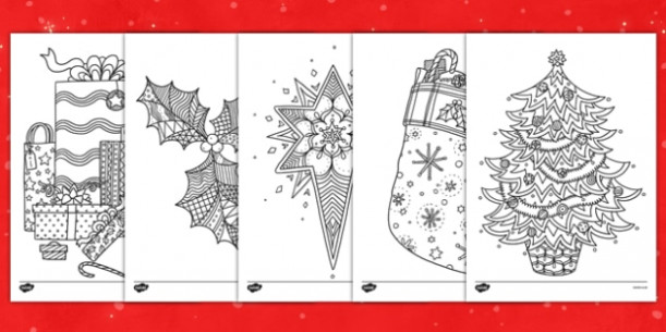 Christmas Themed Mindfulness Colouring Sheets - colouring, pd, fine ...