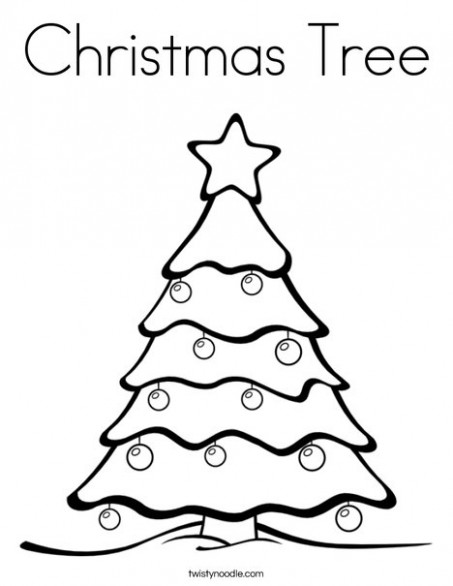 Christmas Tree Coloring Page - Twisty Noodle
