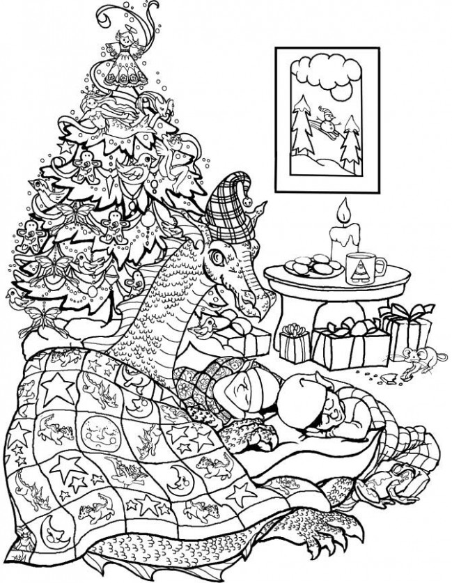 Christmas Tree Elves and a Dragon Coloring Page | Christmas Eve ...