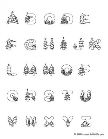 CHRISTMAS TREE letters of alphabet coloring pages - Coloring pages ...