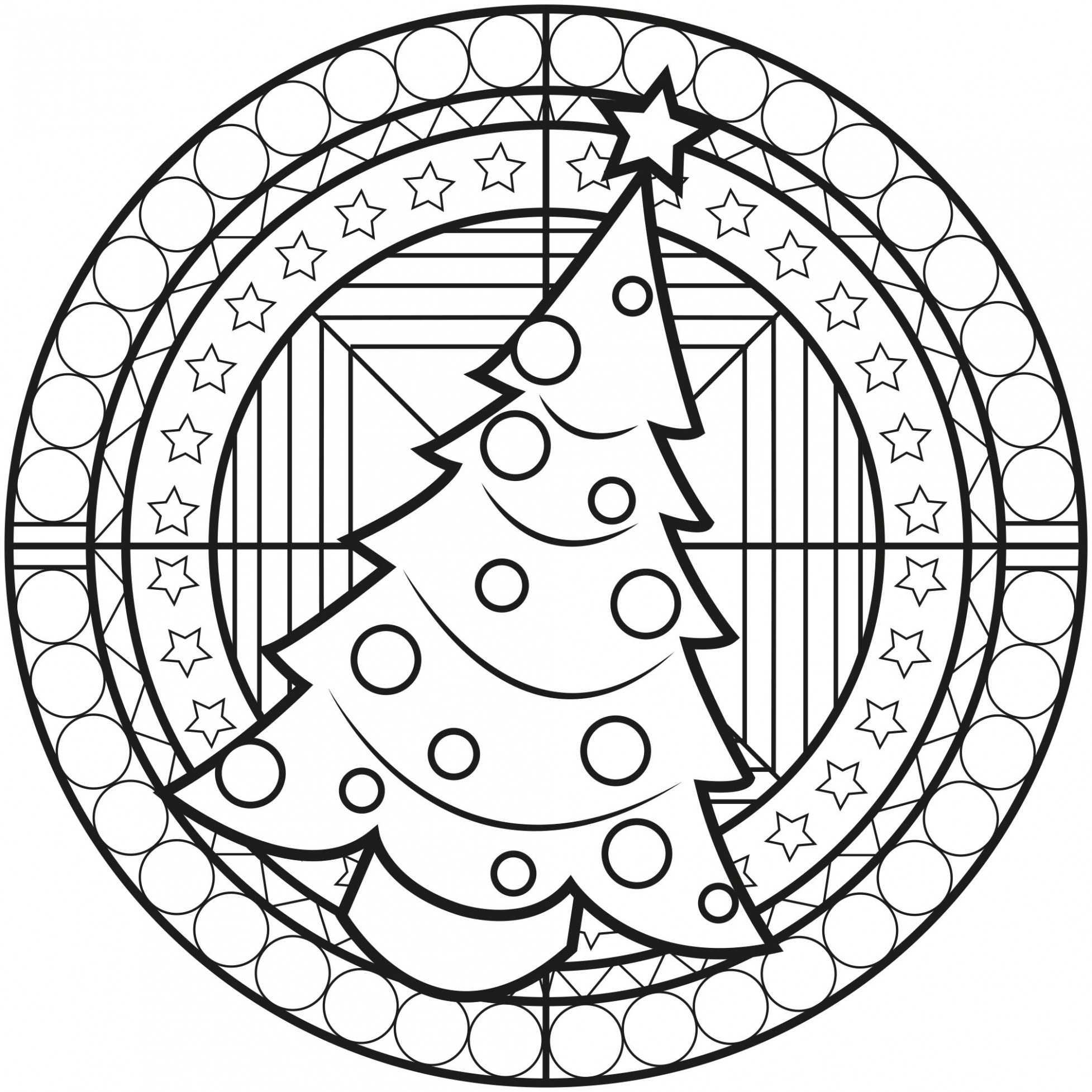 Christmas Tree Mandala - Simple Mandalas - 14% Mandalas Zen