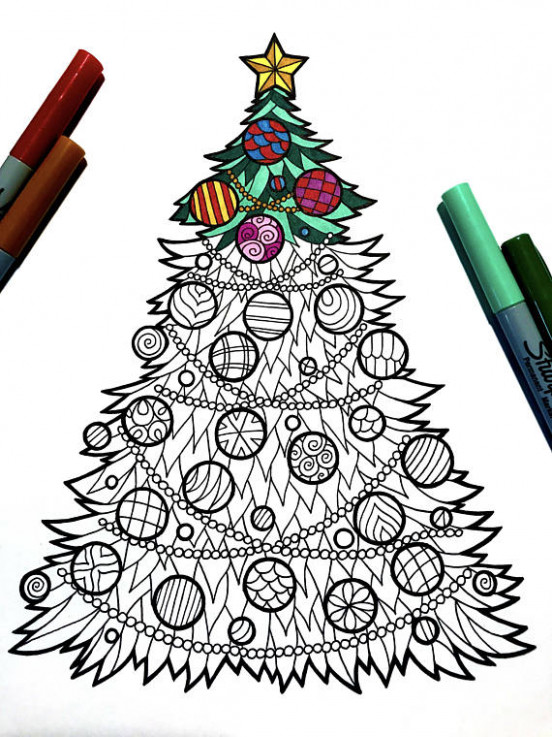Christmas Tree – PDF Zentangle Coloring Page in 18 | sketch ..