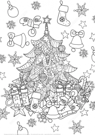 Christmas Tree Zentangle coloring page | Free Printable Coloring Pages – Christmas Zentangle Coloring