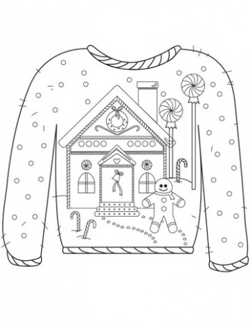 Christmas Ugly Sweater with Gingerbread Man Motif coloring page ..