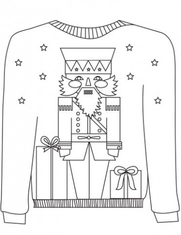 Christmas Ugly Sweater with the Nutcracker Motif coloring page ..