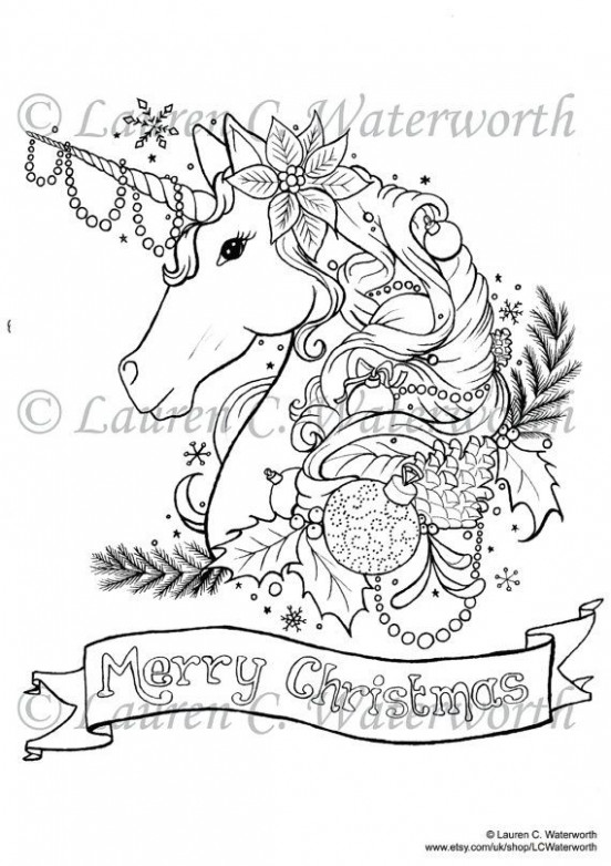 Christmas Unicorn Colouring Page Adult art Printable Fantasy Gothic ..