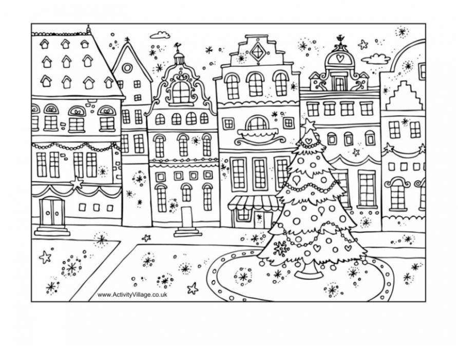 Christmas Village Coloring Page Free PNG Images