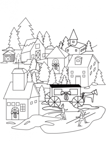 Christmas Village coloring page | Free Printable Coloring Pages