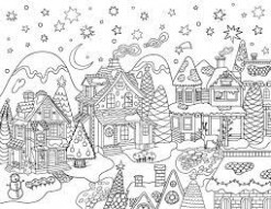 Christmas Village Coloring Pages Free Printable Christmas Village ...
