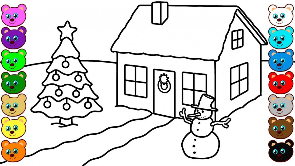 Christmas Winter House – Coloring Pages for Children – YouTube – Christmas Coloring Pages House
