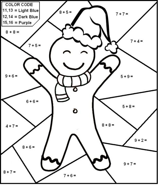 Christmas Worksheet - Color By Number Math Worksheet for Kids ...