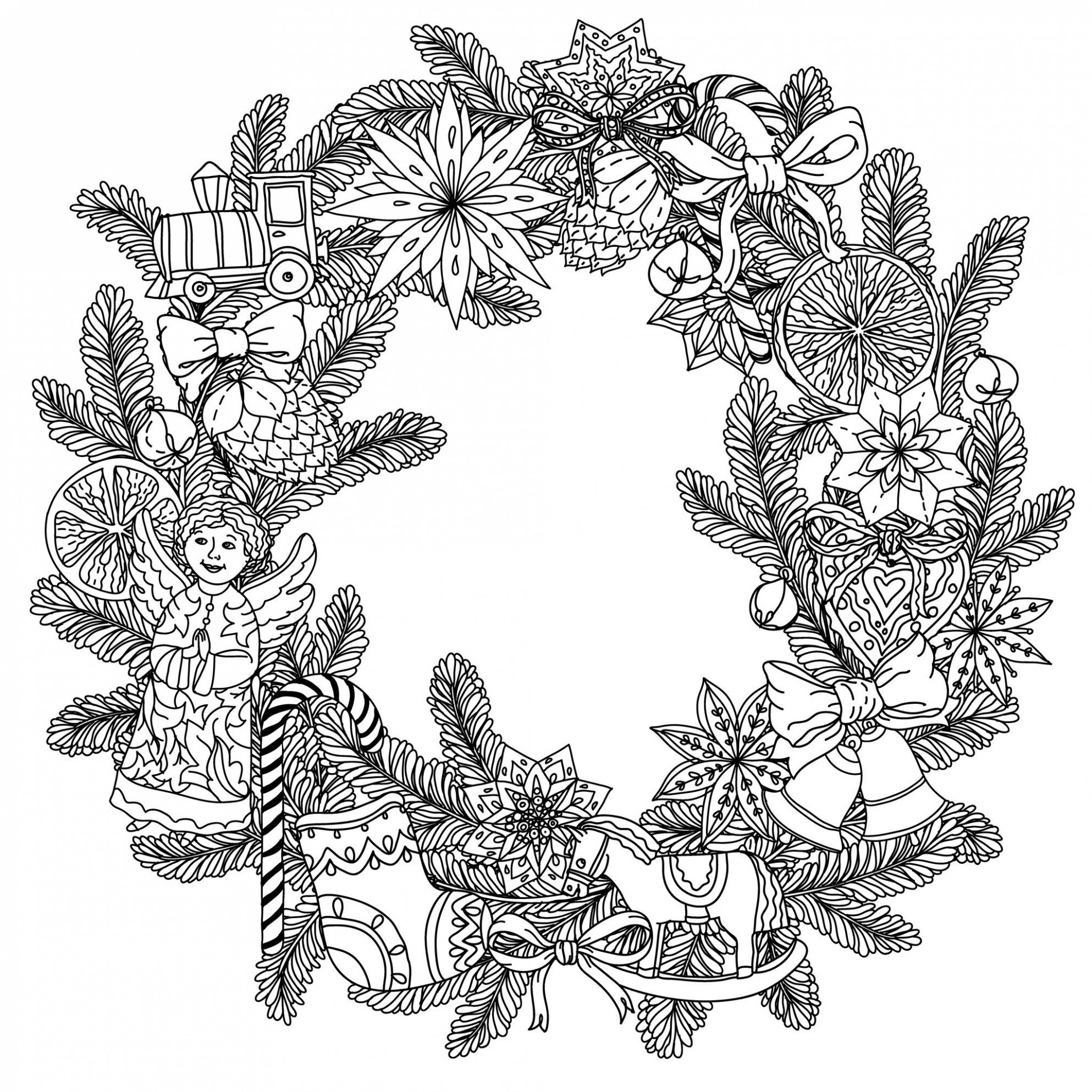 Christmas wreath – Christmas Adult Coloring Pages – Christmas Coloring For Adults