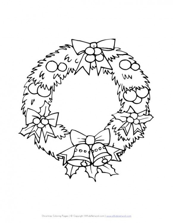 Christmas Wreath Coloring Page   All Kids Network – Christmas Wreath Coloring Pages