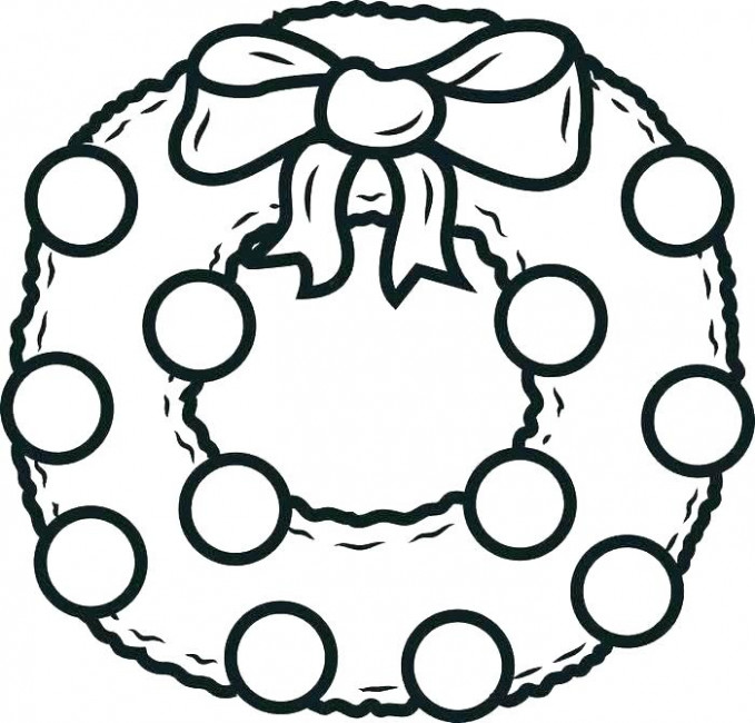 Christmas Wreath Coloring Page Medium Size Of Pages For Kids Wreaths ...