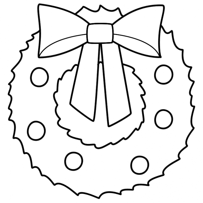 Christmas Wreath - Coloring Page ( | WREATHS | Christmas wreaths ...