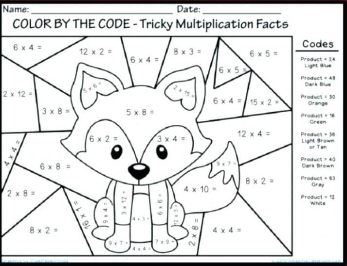 Color by multiplication multiplication worksheets fun color numbers ..