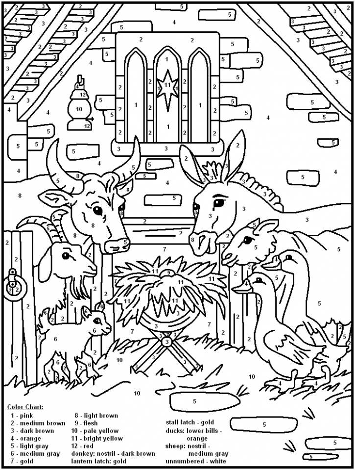 Color-by-Number #17 | Sunday School | Nativity coloring pages ..