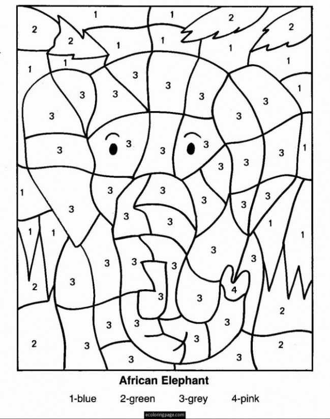 Color By Number Math Worksheets Christmas Coloring Pages For 15st ...