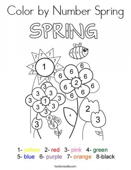 Color by Number Spring Coloring Page - Twisty Noodle | Spring ...