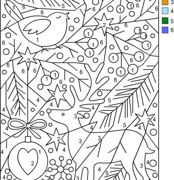 color by numbers christmas coloring pages color pages free printable ..