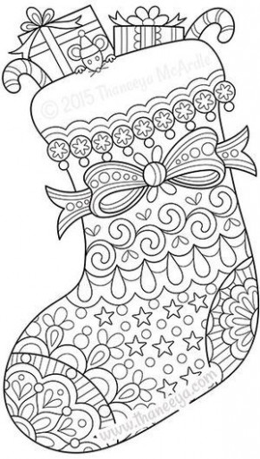 Color Christmas Stocking Coloring Page by Thaneeya | szkoła ..
