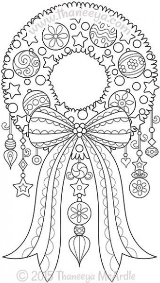 Color Christmas Wreath Coloring Page by Thaneeya   Coloring pages ..
