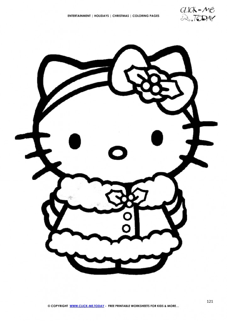 Color Hello Kitty Christmas Coloring page – Christmas 16 – Christmas Coloring Pages Hello Kitty