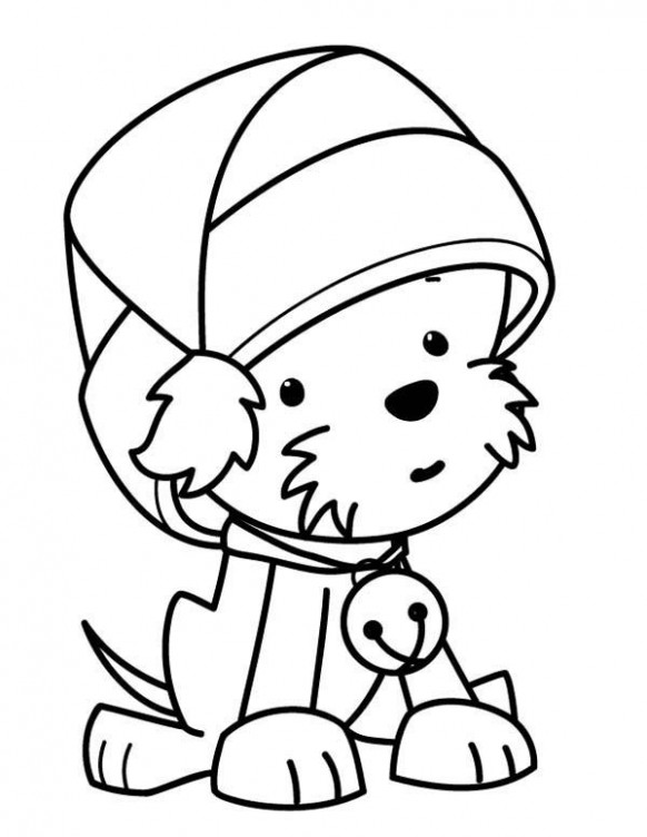 Coloring A Cute Little Dog Wearing Santas Hat Christmas Coloring P ..