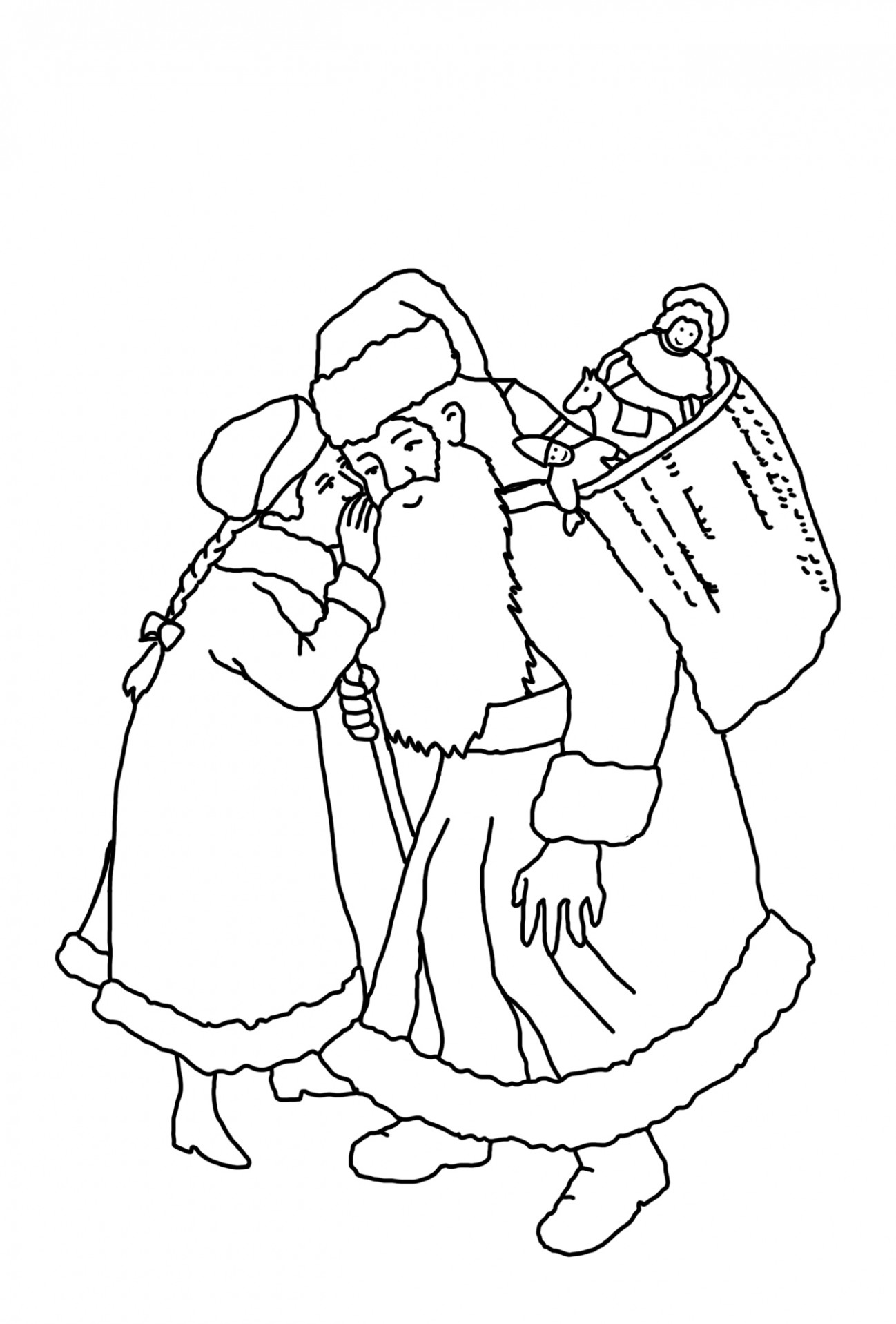 Coloring Ideas : Girl Wispering Her Wishes To Santa Staggering ..