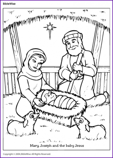 Coloring (Mary, Joseph and the Baby Jesus) – Kids Korner – BibleWise ..
