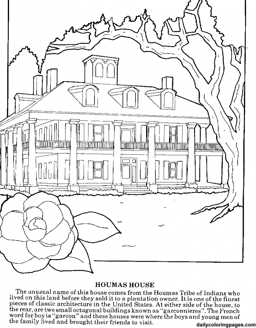 Coloring Pages for Adults | louisiana plantations difficult coloring ..