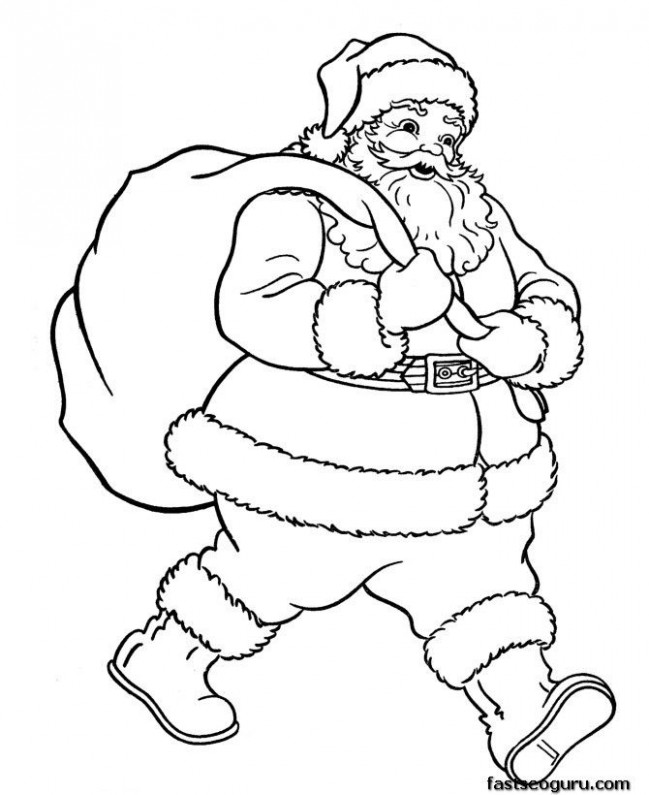 coloring pages of santa | … » Christmas » Santa Claus with ..