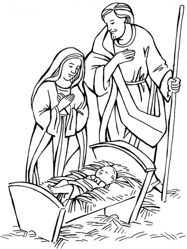 coloring picture of mary joseph and baby jesus coloring page of mary ..