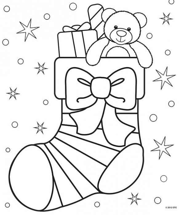 Colouring Pages On Christmas How Cute Is This Stocking Coloring Page ...