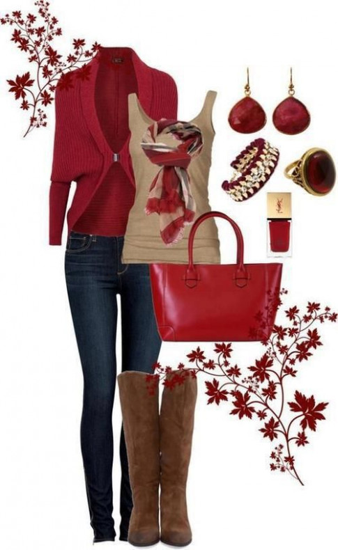 Comfortable outfit for Christmas day and good color scheme for ..