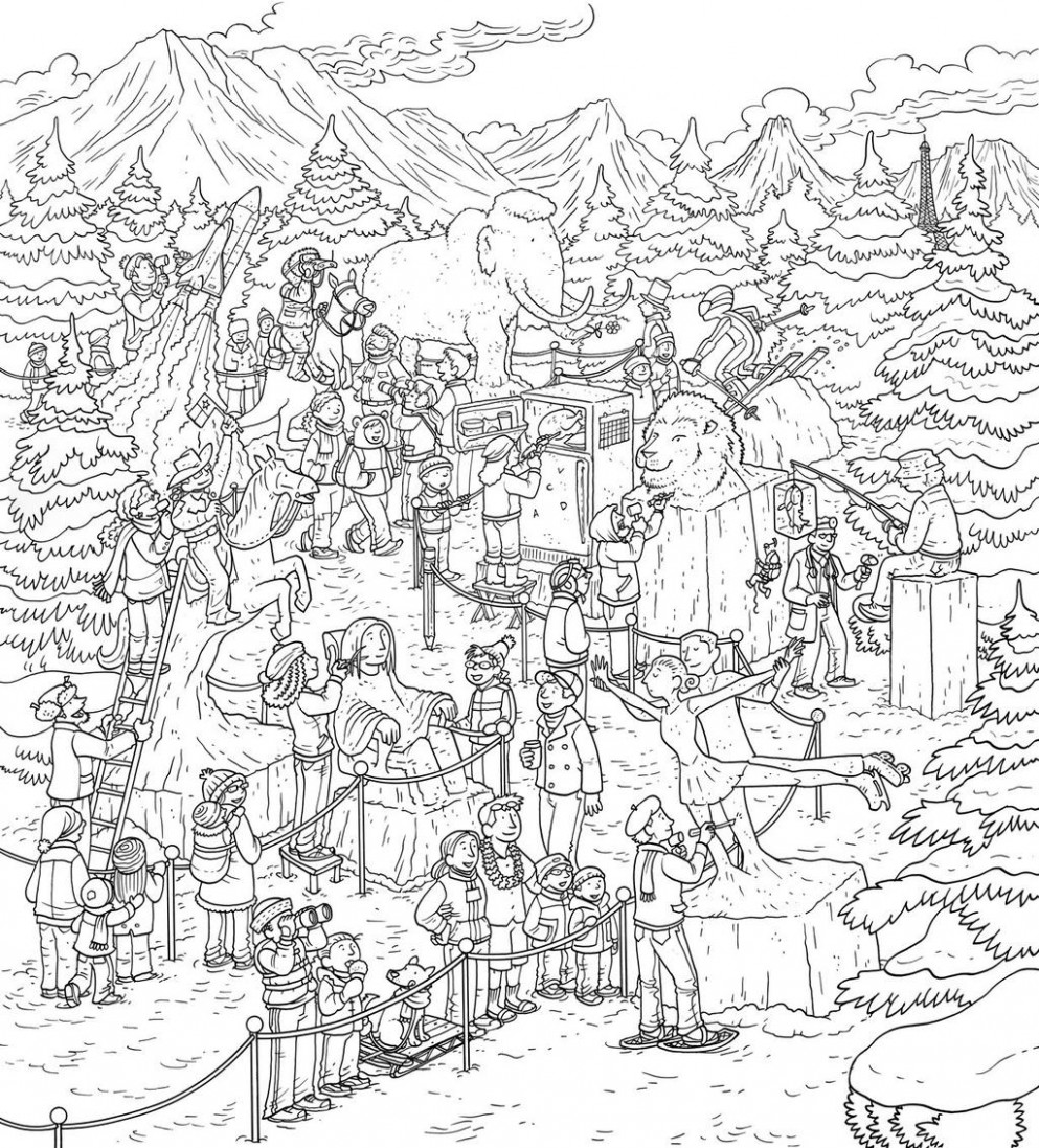 Complicated Christmas Coloring Pages Difficult Beautiful - KidColorings