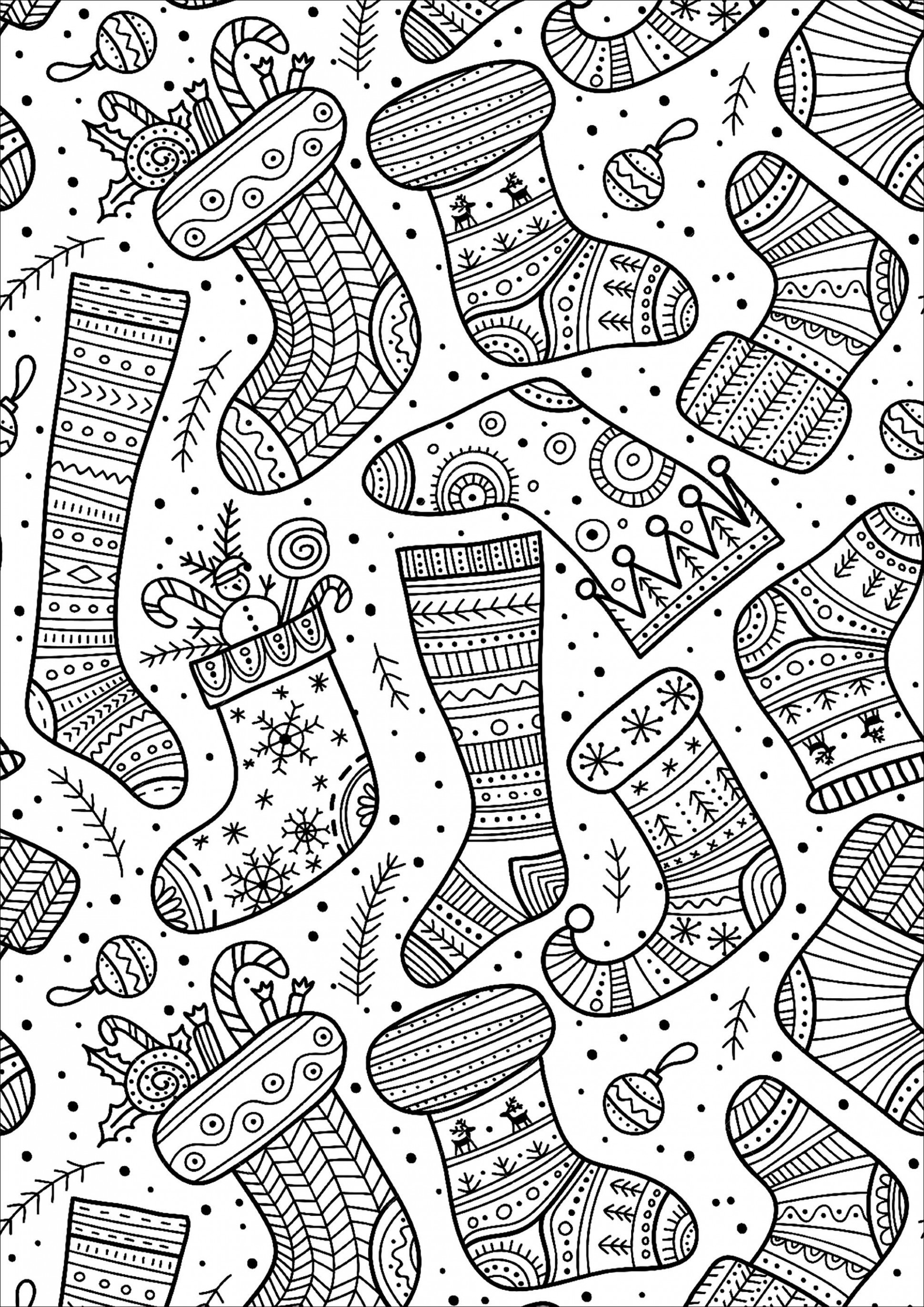 Cute Christmas socks with various and happy designs | Coloring pages ..