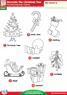 "Decorate The Christmas Tree"" Christmas Vocabulary Coloring Worksheet .."