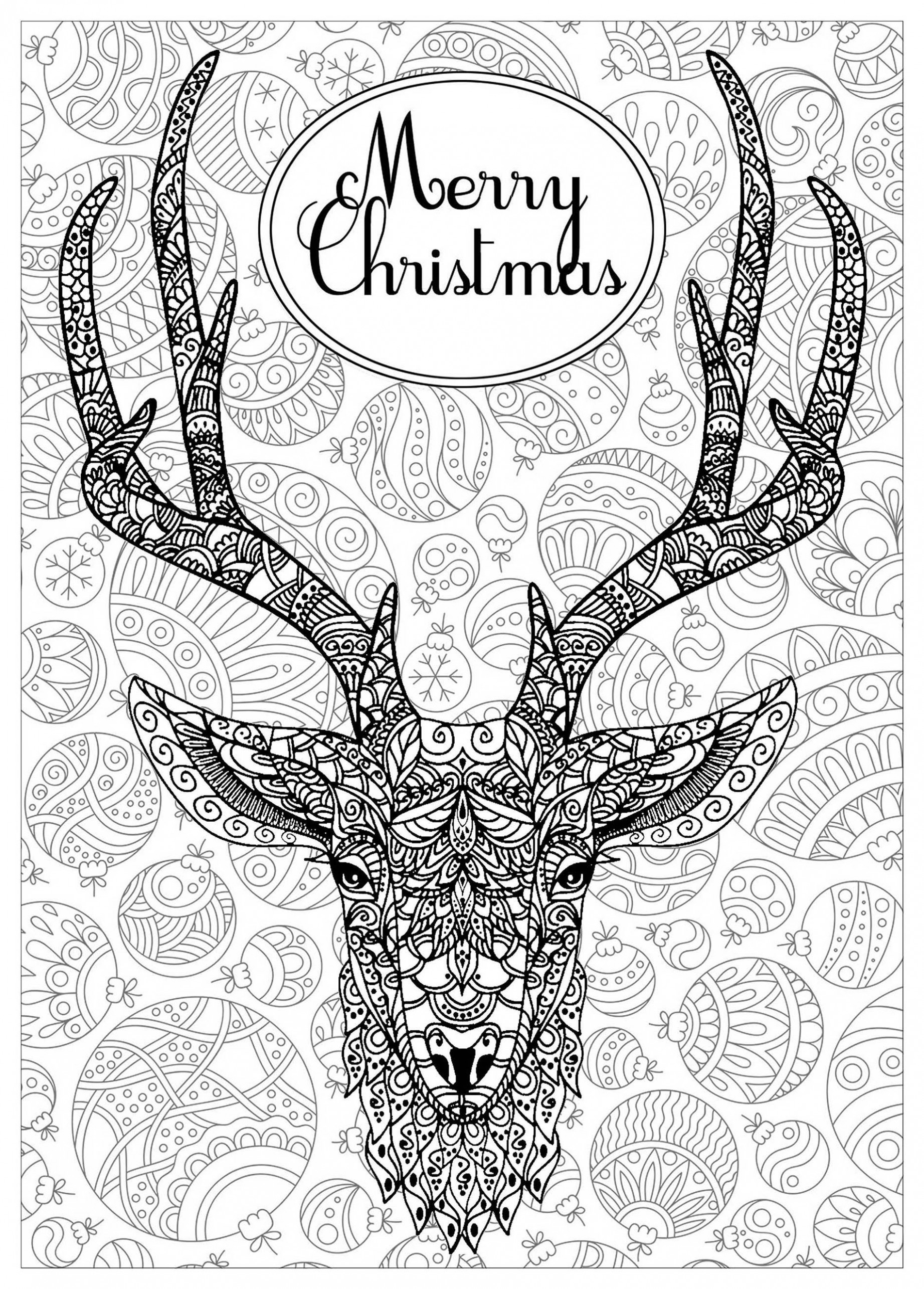 Deer with text and background – Christmas Adult Coloring Pages – Christmas Deer Coloring Pages