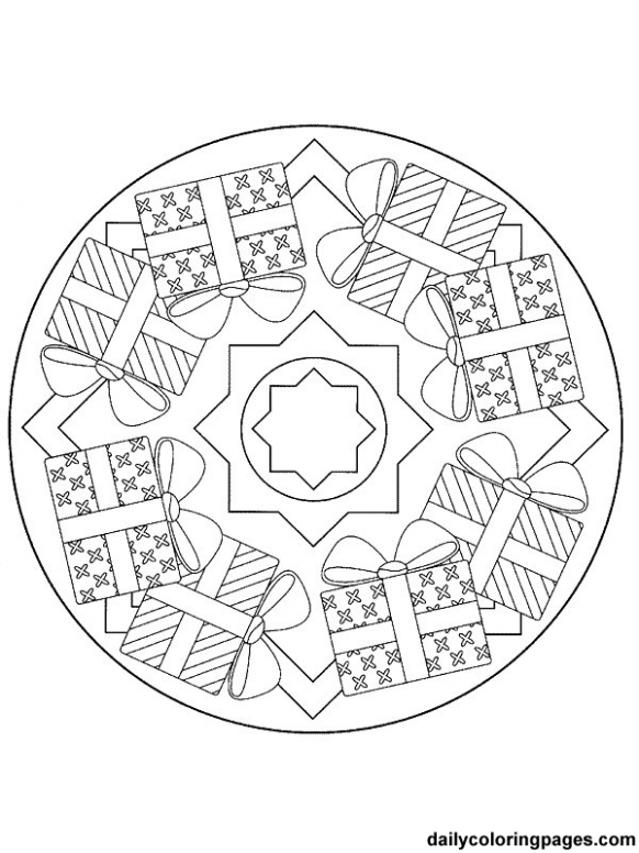 Detailed Christmas Coloring Pages | mandala christmas ornaments ...