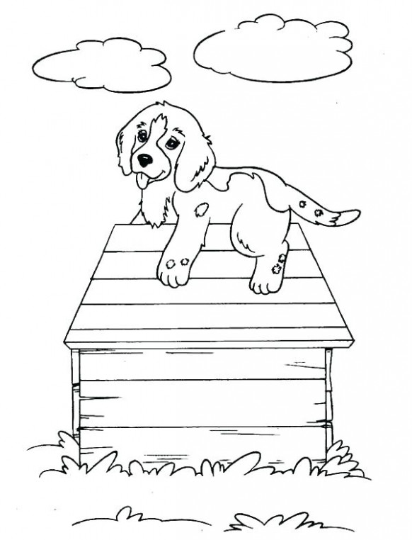 Dog Christmas Coloring Pages Dogs Puppy Climb Up A House Page ..