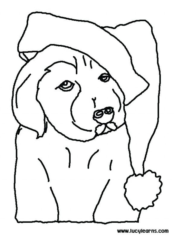 Dog Christmas Coloring Pages On Page Print Puppy Colouring And Cat ..