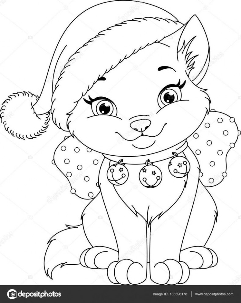 Download – Christmas Cat Coloring Page — Stock Illustration ..
