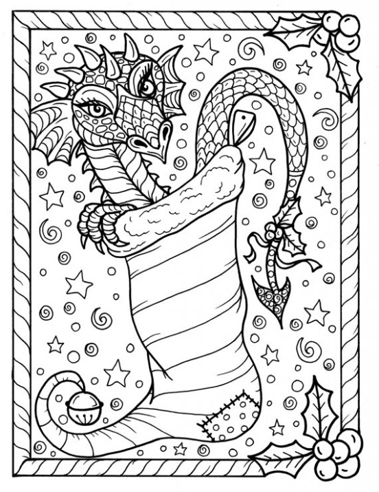 Dragon Christmas Coloring page Digital JPG file Adult color fantasy ...